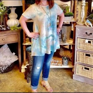 Tops - Tie Dye Cross Back Tunic Tee